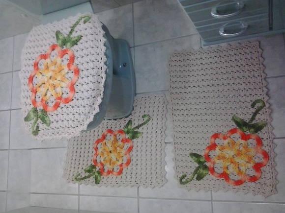 Jogo de Banheiro Flor Laranja  Bella Sereia store  Elo7 -> Decoracao Banheiro Laranja