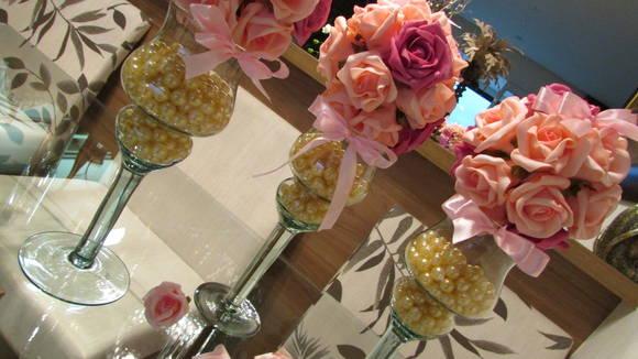 Enfeite De Taça ~ Bola flores na mini taça com pérolas I Rosamorena Artes Florais Elo7