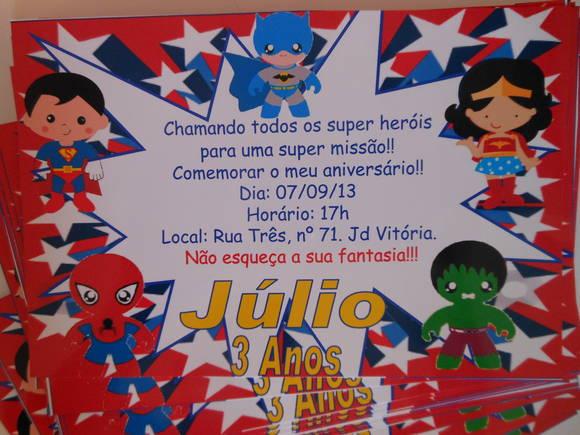 Convite 10x15cm Liga da Justiça Heróis | MaravilhArt | Elo7