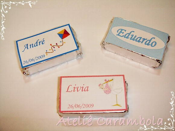 Barrinhas de chocolate personalizadas.