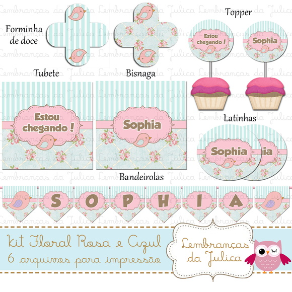 kit digital Floral Rosa e Azul