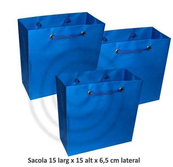 Sacola azul turquesa 15x15x6,5 cm