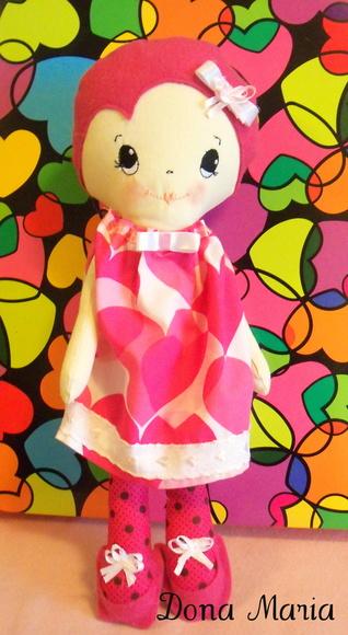 Boneca vestido Cora��o