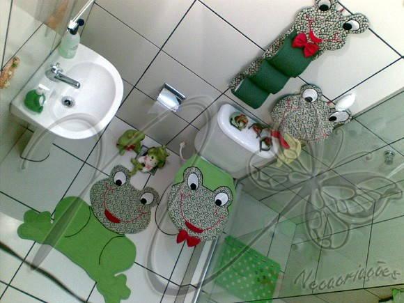 Jogo de Banheiro  Decoração (JBAN00)  Neca Criações  Pintura Metalizada   -> Artesanato Banheiro Pequeno