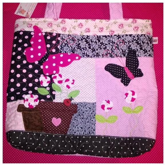 Bolsa De Tecido Quiltada : Bolsa tecido borboleta preta e rosa pat faz art s elo