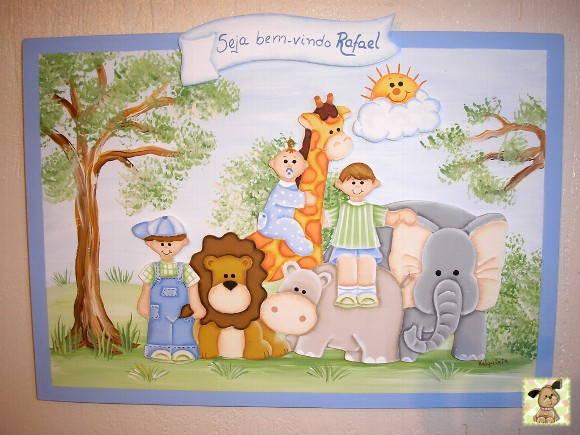 Placa maternidade bichos e meninos