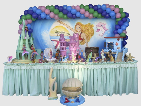 Decoraç u00e3o Mesa Barbie Vida de Sereia Decorando Festas em S u00e3o Paulo Elo7 -> Decoração De Mesa Para Festa Da Sereia