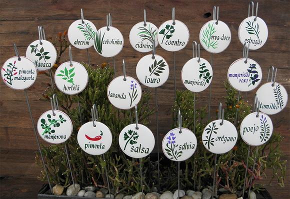 horta jardim e pomar:Placa para horta, vasos/jardim – Kit 5