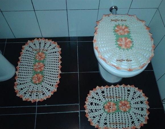 Jogo de Banheiro Laranja  3 Peças  Crochê Rosa  Elo7 -> Decoracao Banheiro Laranja