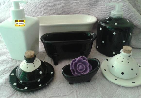 Kit De Banheiro Preto E Branco : Jogo de banheiro preto e branco decor h arteira elo