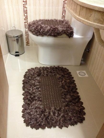 Jogo De Banheiro Marrom E Amarelo : Jogo para banheiro em croch? marrom innova house elo