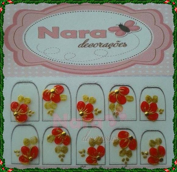 Adesivo de unha flor vermelha Natalina Nara Decorações