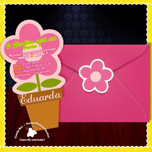 festa jardim convite : festa jardim convite:Convite Recorte Flor – Jardim Encantado