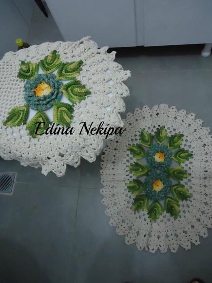 Tapete Floral Para Banheiro : tapetes-para-banheiro-tapetes-de-barbante-com-flores-em-croche