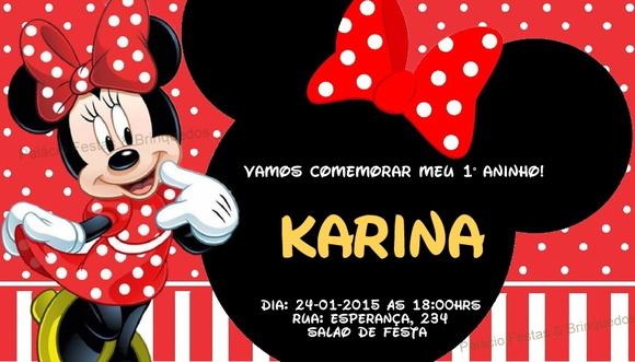 Convite Minnie Vermelha | Palácio Festas & Brinquedos | Elo7