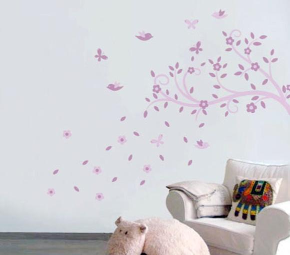 Adesivo de Parede Infantil Árvore Charm Balihai Stickers  ~ Adesivos De Parede Para Quarto De Bebe Feminino