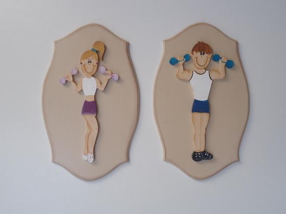 Placa de Banheiro Academia (par)  ANGELA FOLK ART  Elo7 -> Banheiro Feminino Ou Feminina