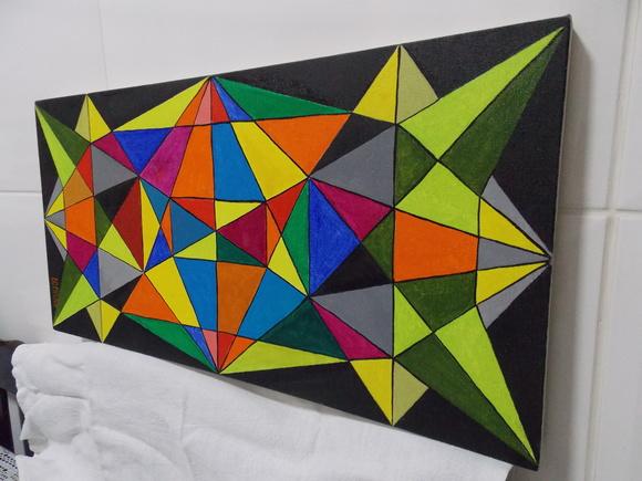 Tela pintura acr lica geom trica ateli pav o elo7 for Cuadros con formas geometricas