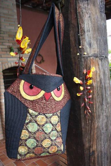bolsa coruja em patchwork