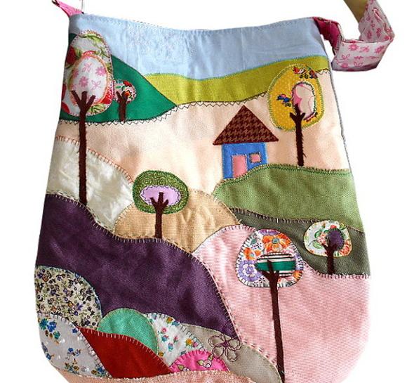 Bolsa Em Tecido Patchwork Feminina Com Alça Para Os Ombros : Bolsa paisagem patchwork encomende cristina v elo