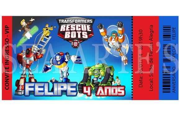 Arte Convite Digital  Rescue Bots  Sea Artes  Elo7