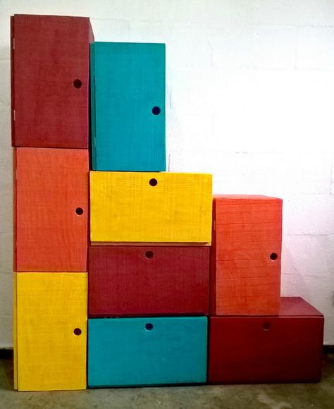 Artesanato Em Madeira Para Quarto Infantil ~ Armário Colorido de Madeira Rústica no Elo7 TucaTu (5558A0)