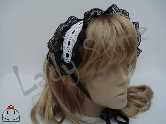 Headdress Lolita listrado.