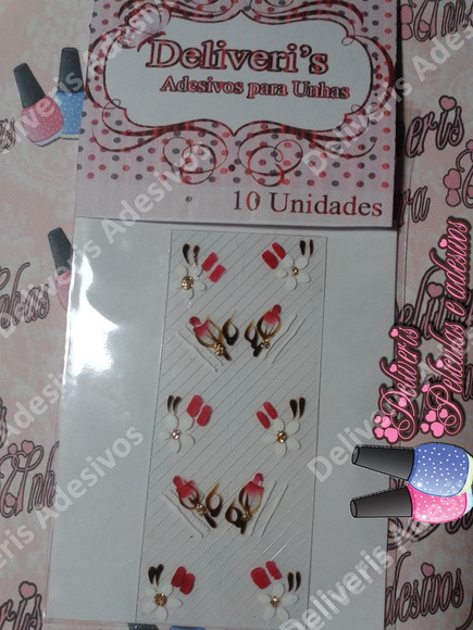 Armario Metal Com Chave ~ Adesivo Artesanal flor branca com rosa Artes Para Unhas by Jéssica Ferrari Elo7