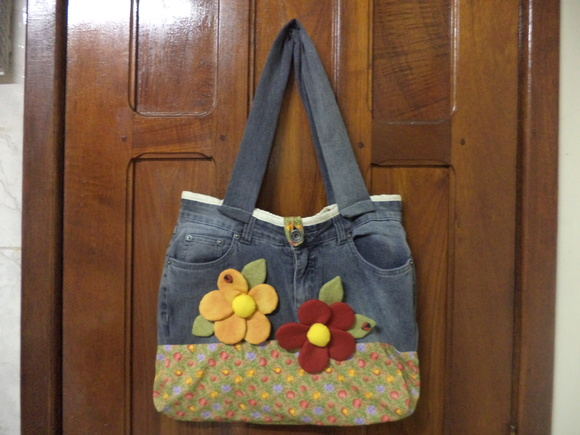 Bolsa De Praia Feita De Tecido : Bolsa reciclada de jeans artesanato da gisa elo