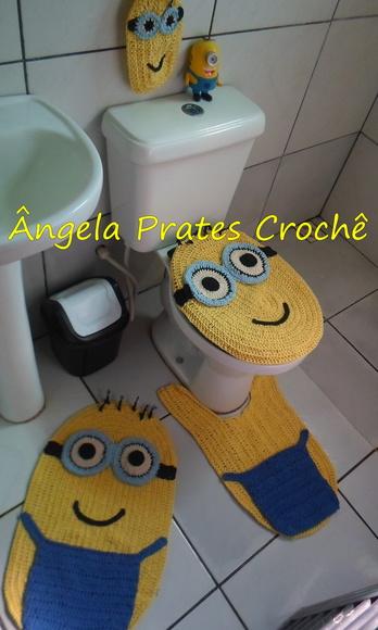 Tapete Minions De Croche : jogo-de-banheiro-minions-minions