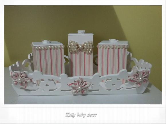 Kit higiene pérola no Elo7 Kelly Baby Decor (5D7142) -> Como Decorar Kit Higiene Para Bebe Com Perola