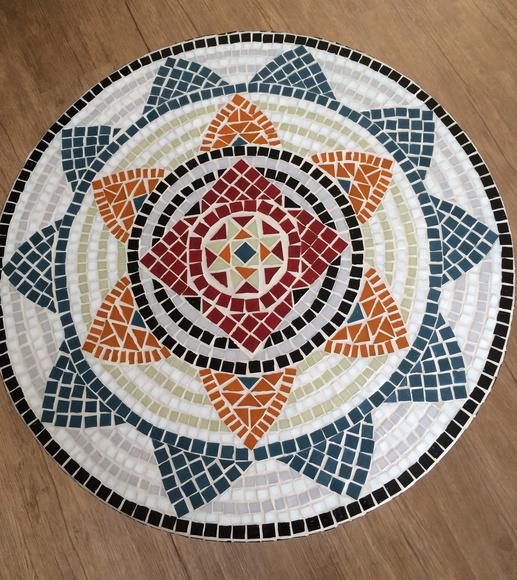 Tampo de mesa em mosaico de vidro no elo7 dmosaics for Mesas de mosaico