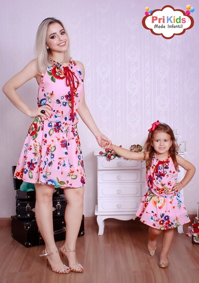 Vestido Rosa Floral Mãe e Filha | Pri Kids Moda Infantil | Elo7