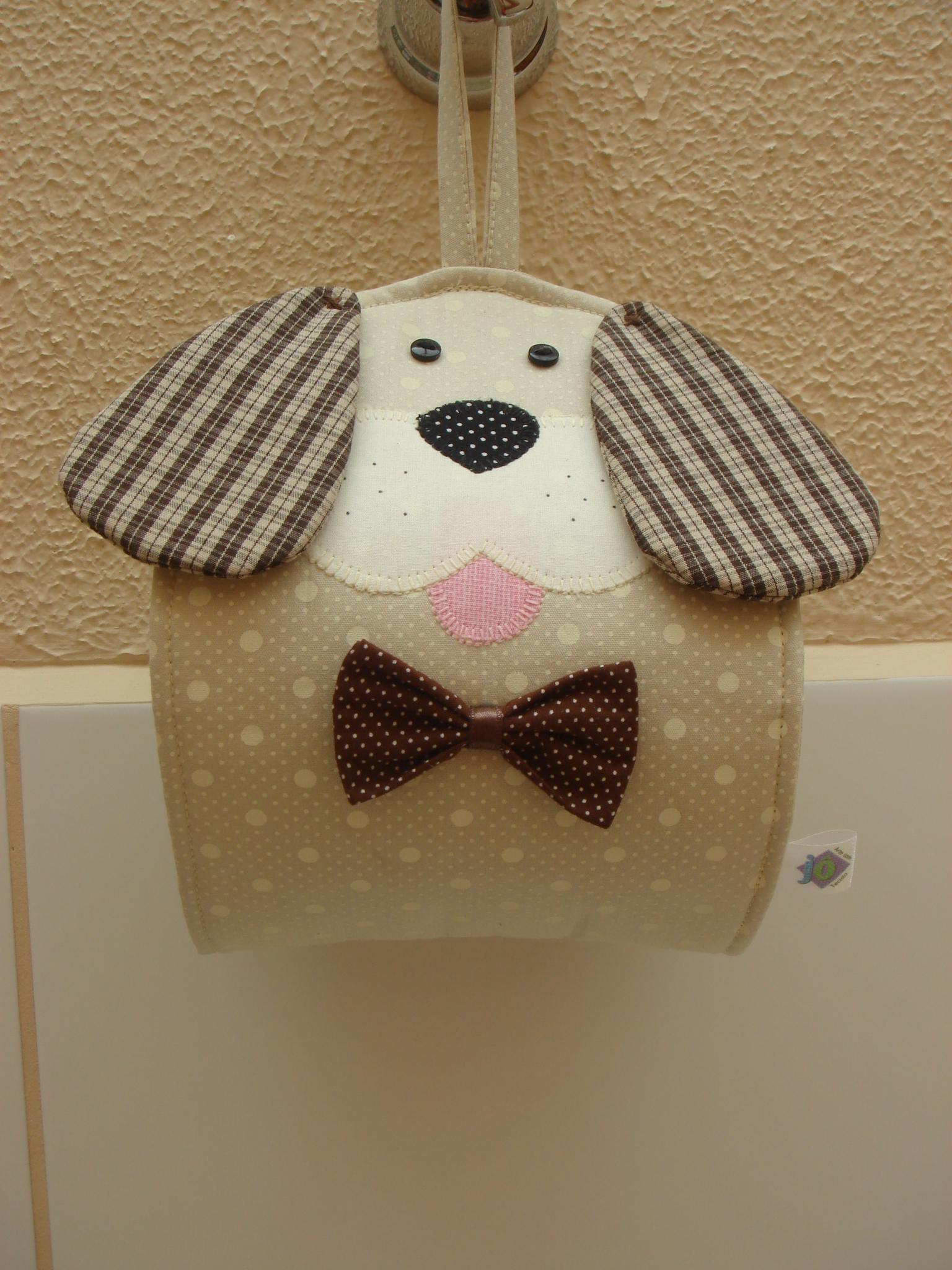 Porta papel higi nico cachorro j arte com tecido elo7 for Porta or