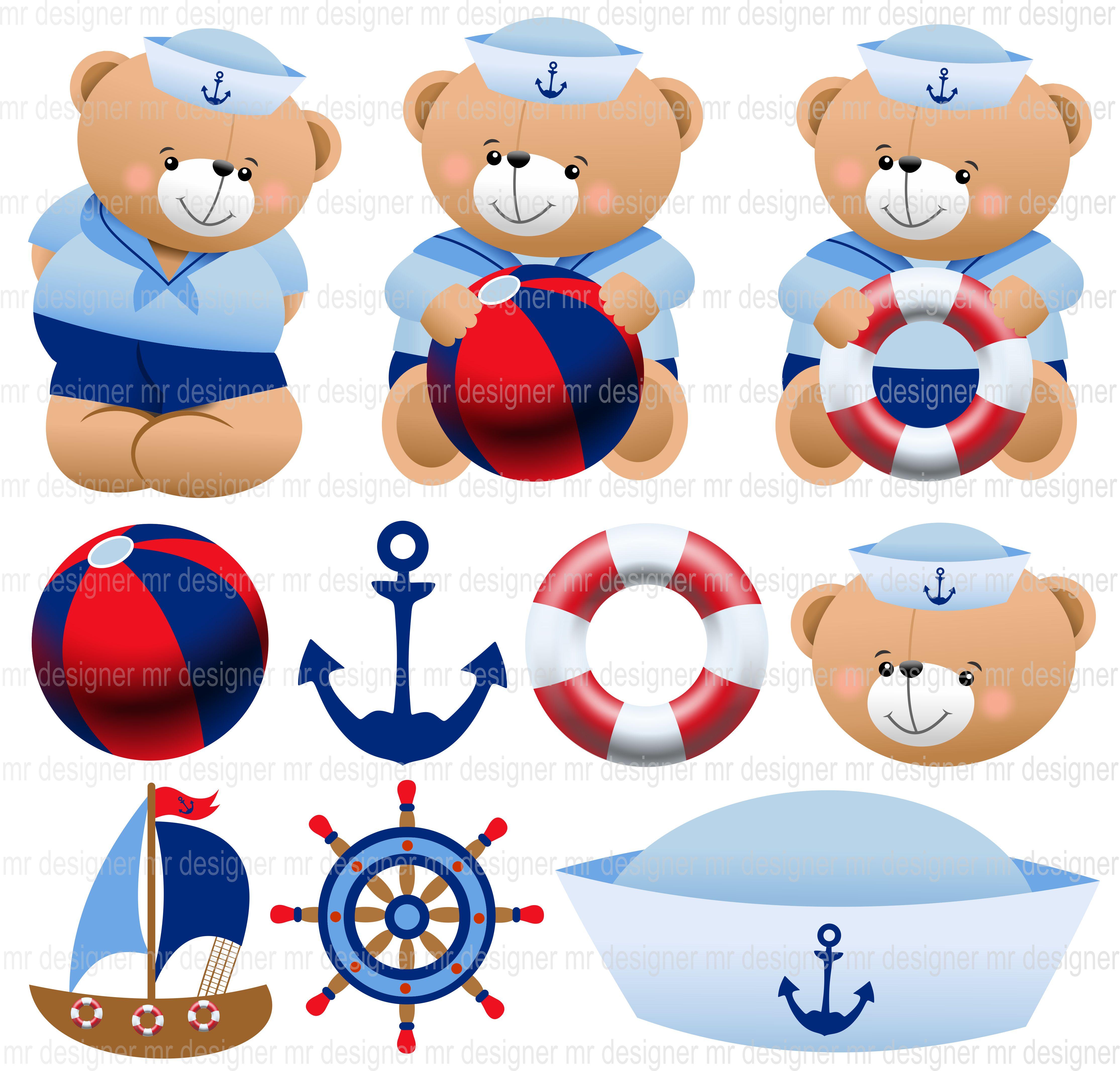 urso marinheiro ursinho baby   MR designer   Elo7
