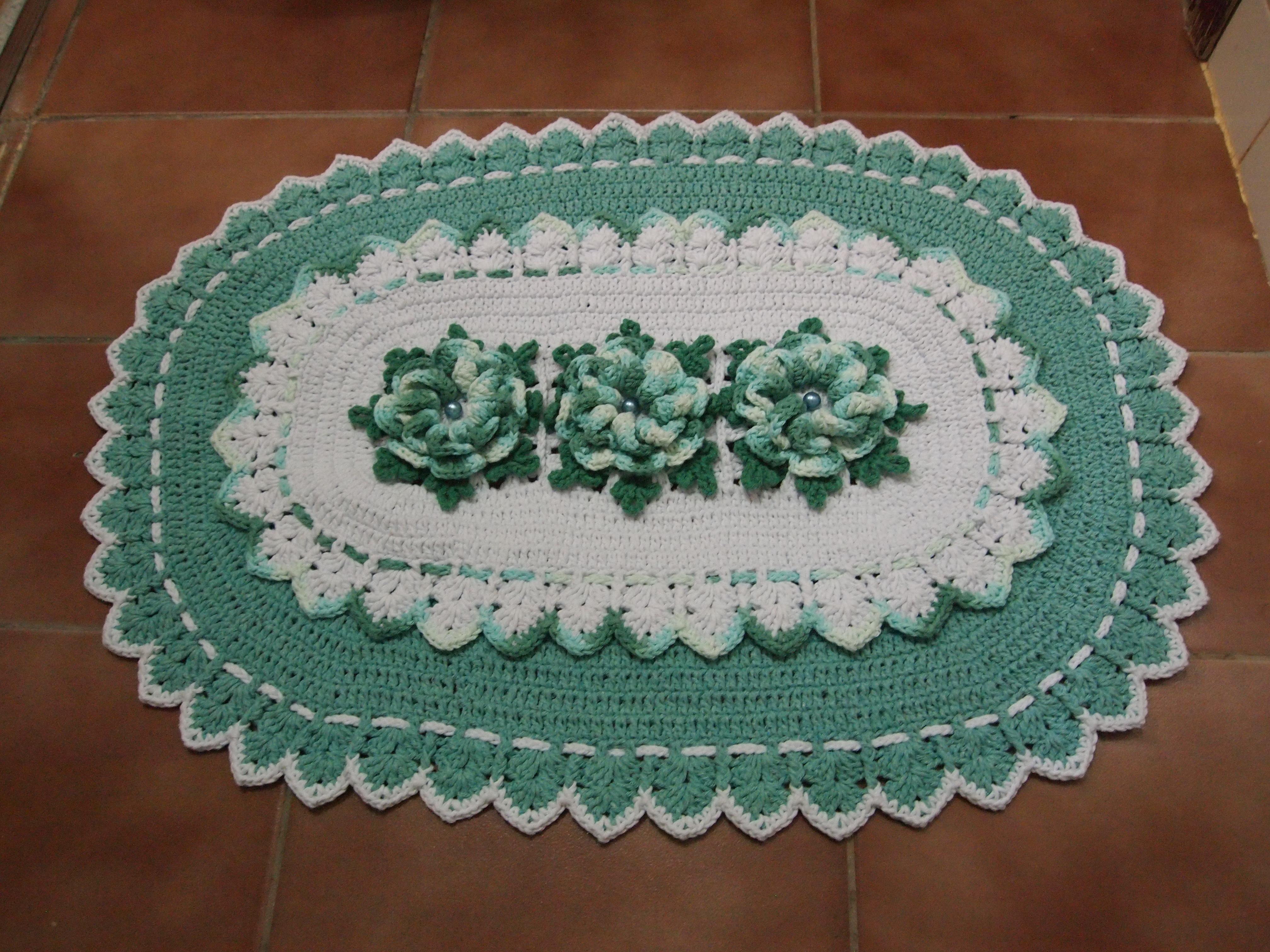 Jogo De Banheiro Verde E Branco : Jogo de banheiro pe?as branco jade croches da elsa elo