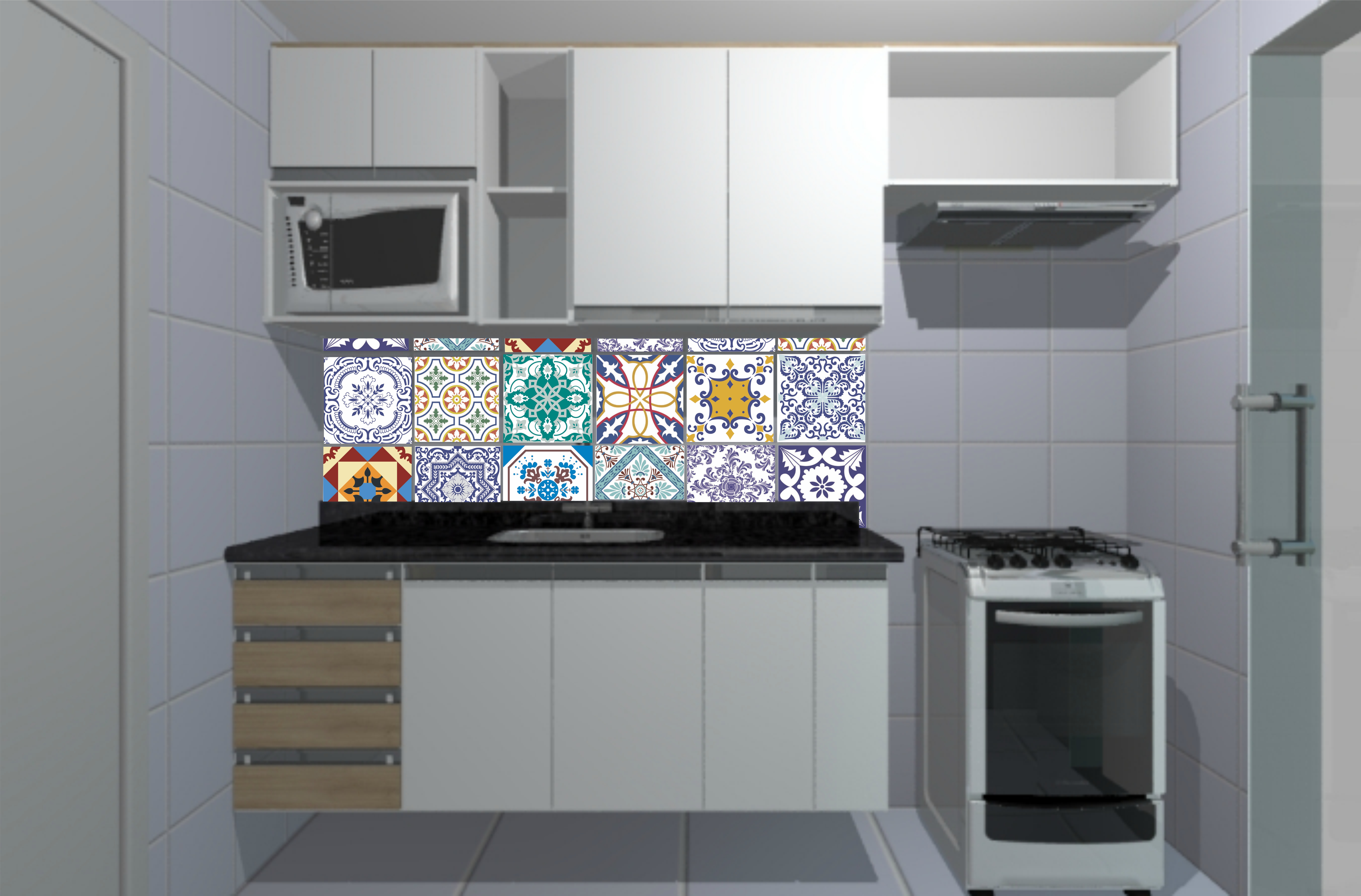 Azulejo Português Adesivo  Aarte Decoor  Elo7 # Azulejo Cozinha Horizontal