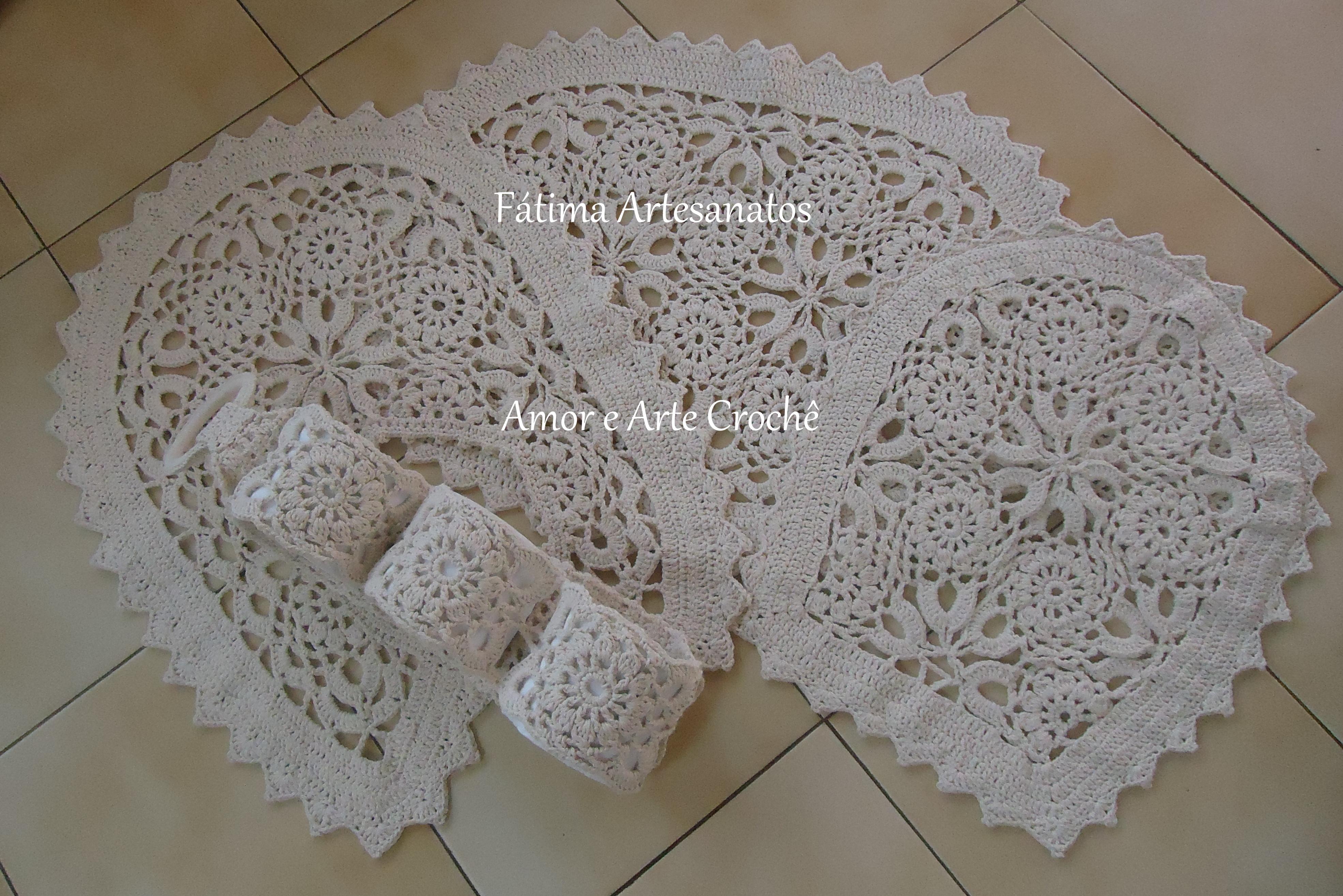 Jogo de banheiro de crochê  Maria de Fátima Alvarenga  Elo7 -> Jogo De Banheiro Simples Croche