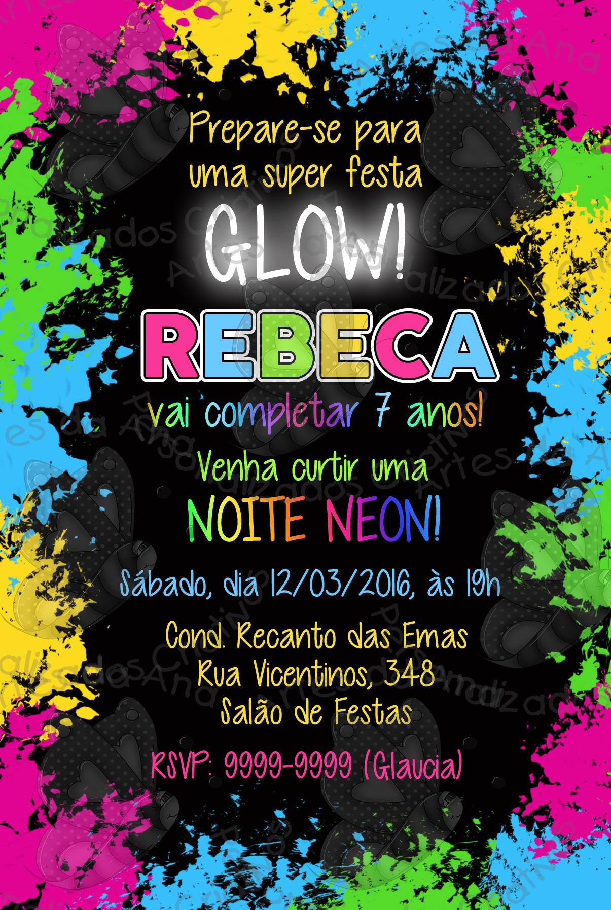 Convite Festa Neon   Artes da Ana Personalizados Criativos ...