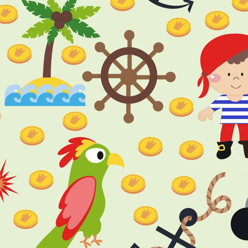Papel de parede menino pirata com papaga jmi decor elo7 - Papel infantil para paredes ...