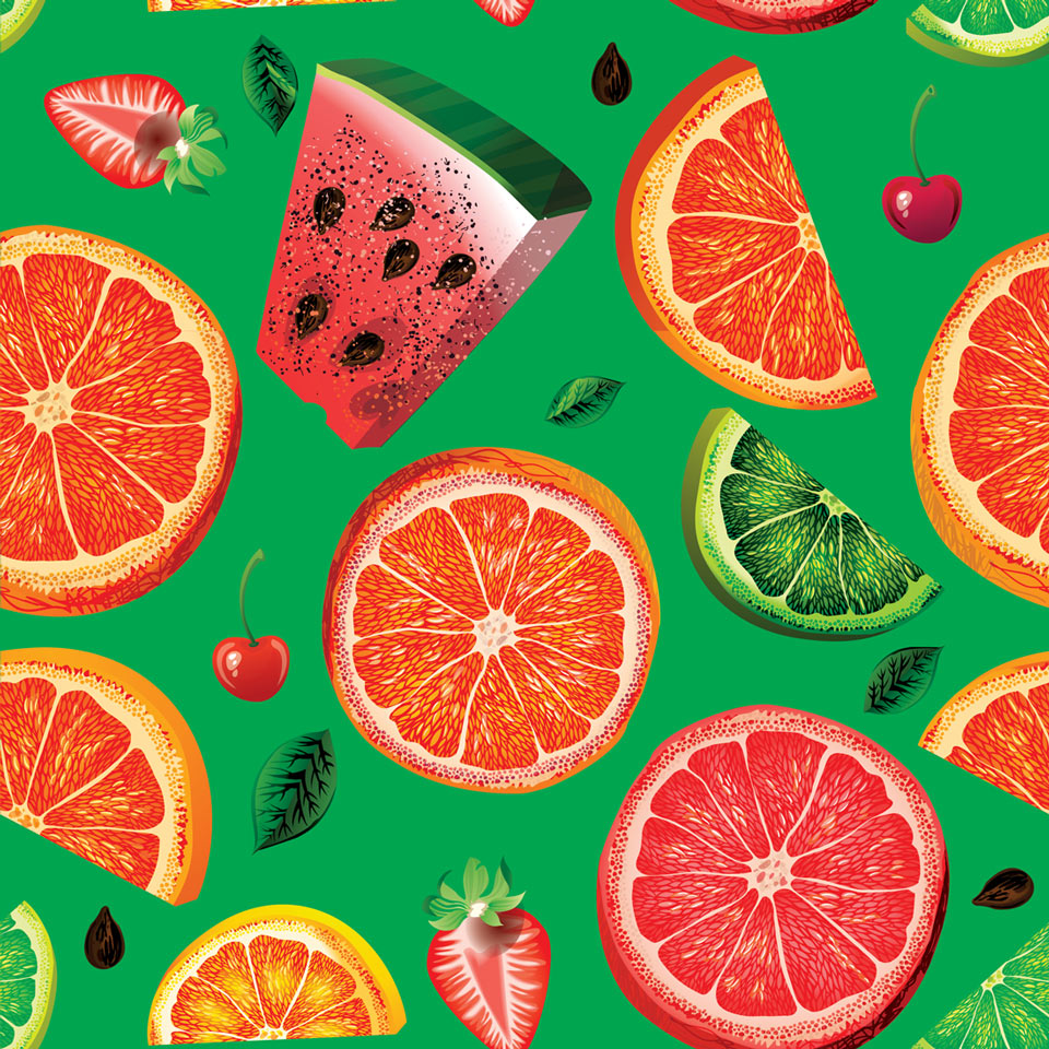 Papel de parede frutas sobre verde jmi decor elo7 for Papel de pared rustico