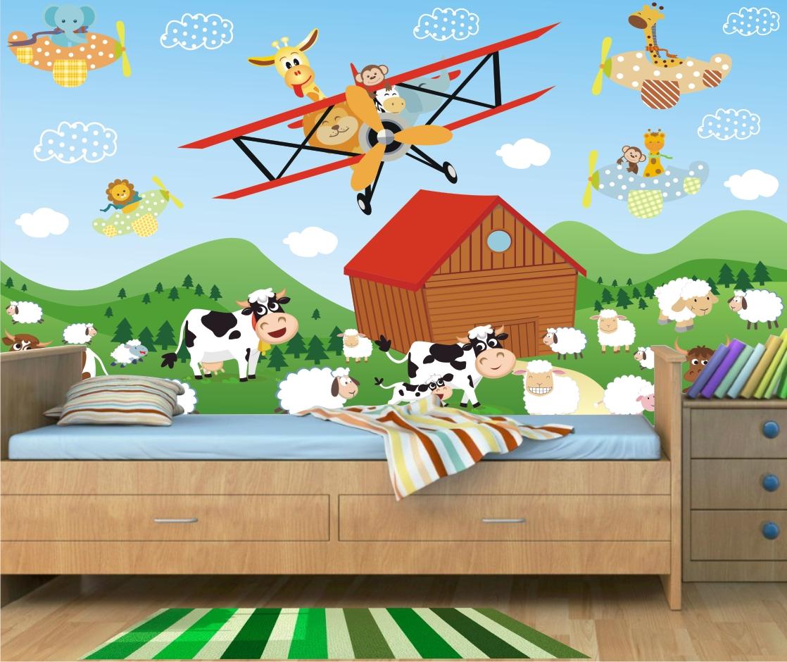 Papel de parede infantil fazendinha 25 quartinhodecorado - Papel decorativo infantil para paredes ...
