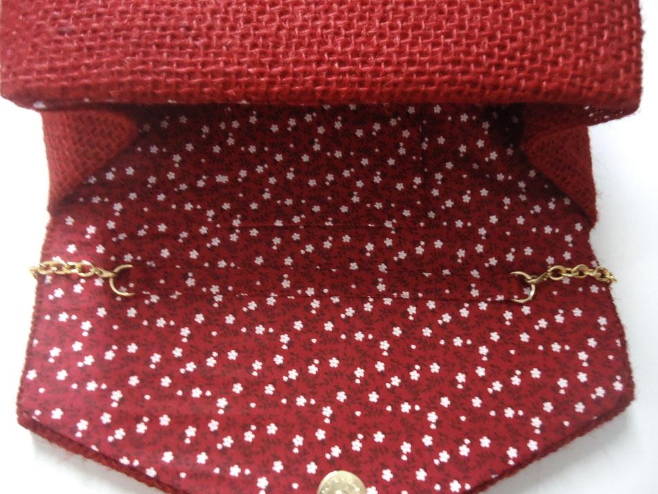 Bolsa De Mão De Juta : Bolsa com al?a juta vermelha dagi bolsas e clutches elo