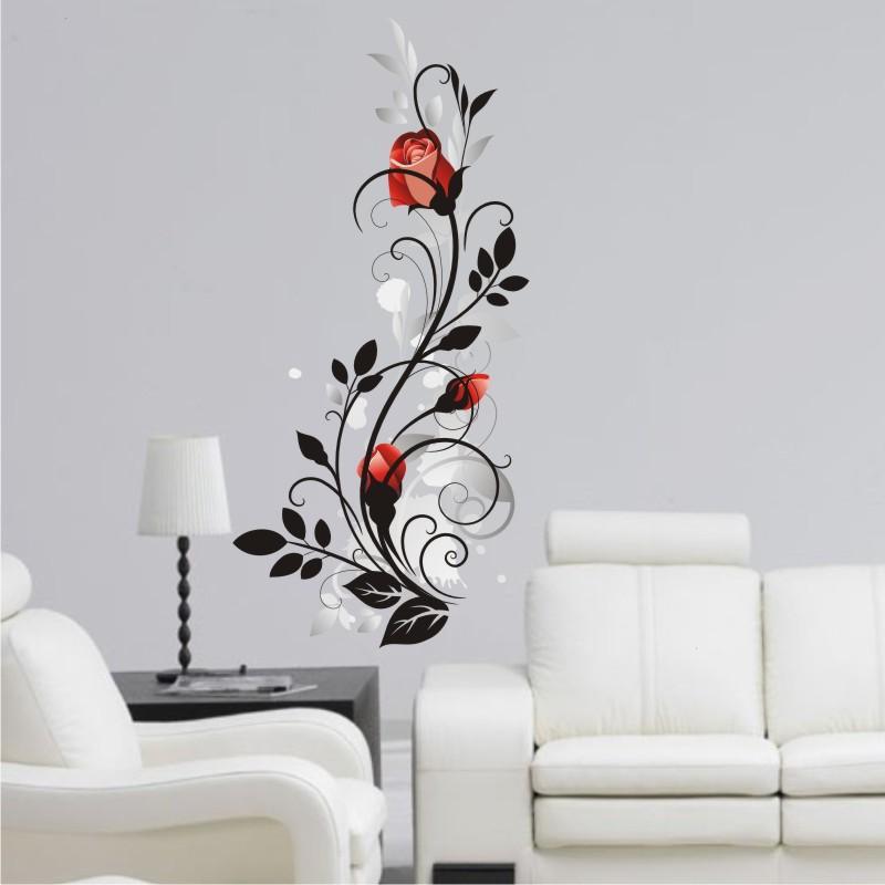 Adesivo arabesco com rosa vermelha Adesivos e Decorações  ~ Adesivo De Parede Para Quarto Arabesco