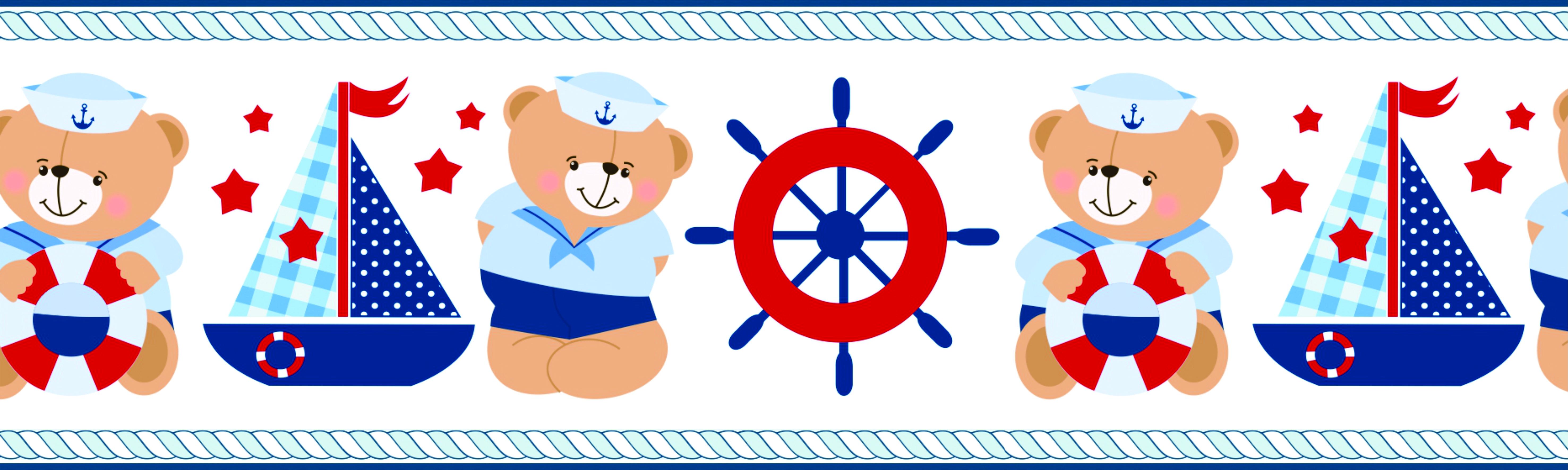 Aparador Ferro Com Vidro ~ Faixa adesiva 14 Urso Marinheiro Leju Papéis Elo7