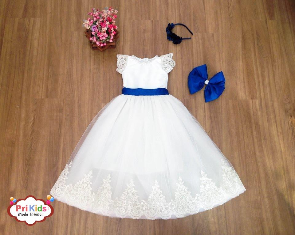 Vestido de Daminha Branco com Azul | Pri Kids Moda Infantil | Elo7