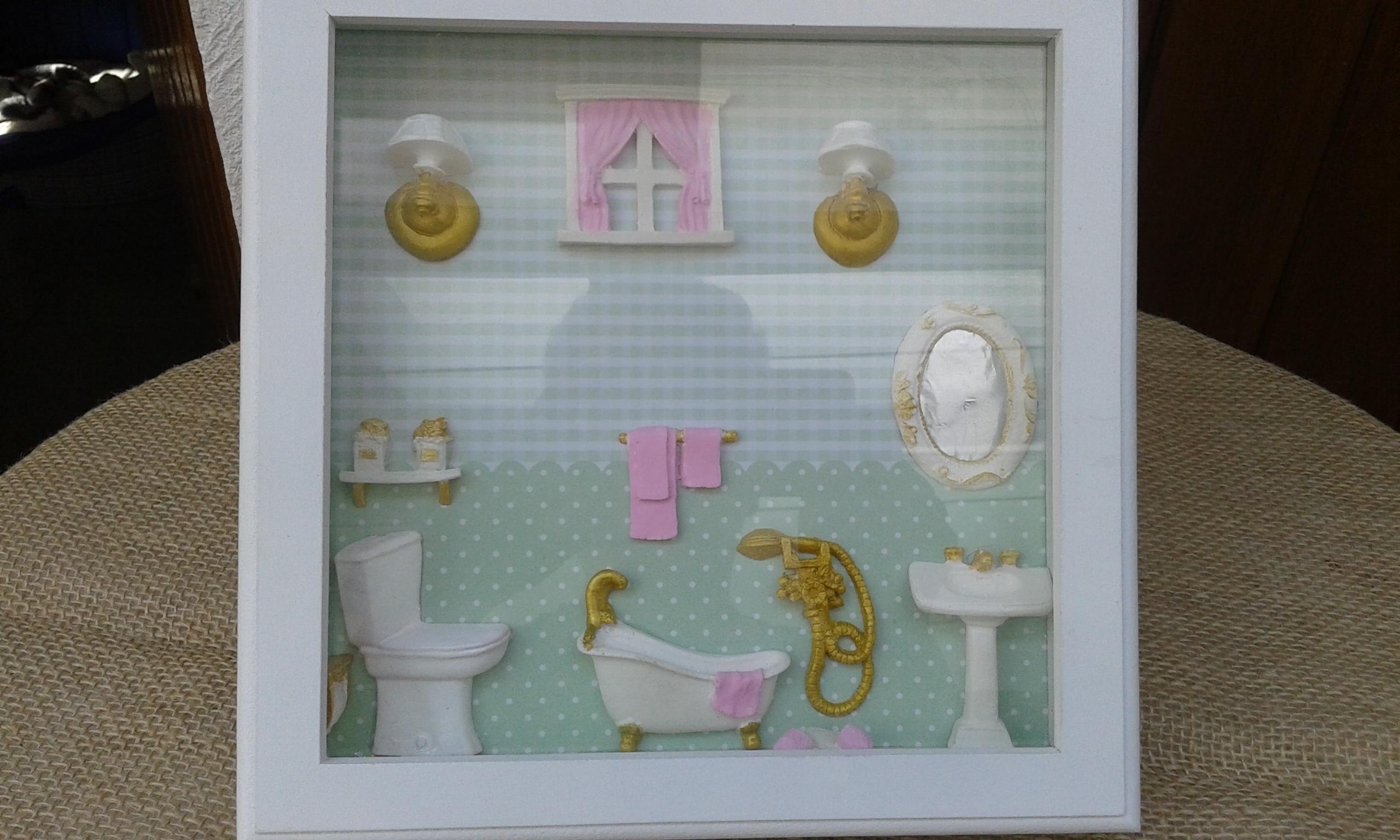 Quadro Decorativo de Banheiro  AC Artesanatos em Madeira  Elo7 -> Decoracao De Banheiro Com Quadro