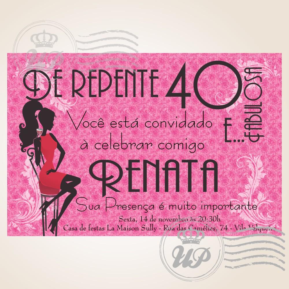 Convite De Aniversario 40 Anos Liliana Elo7