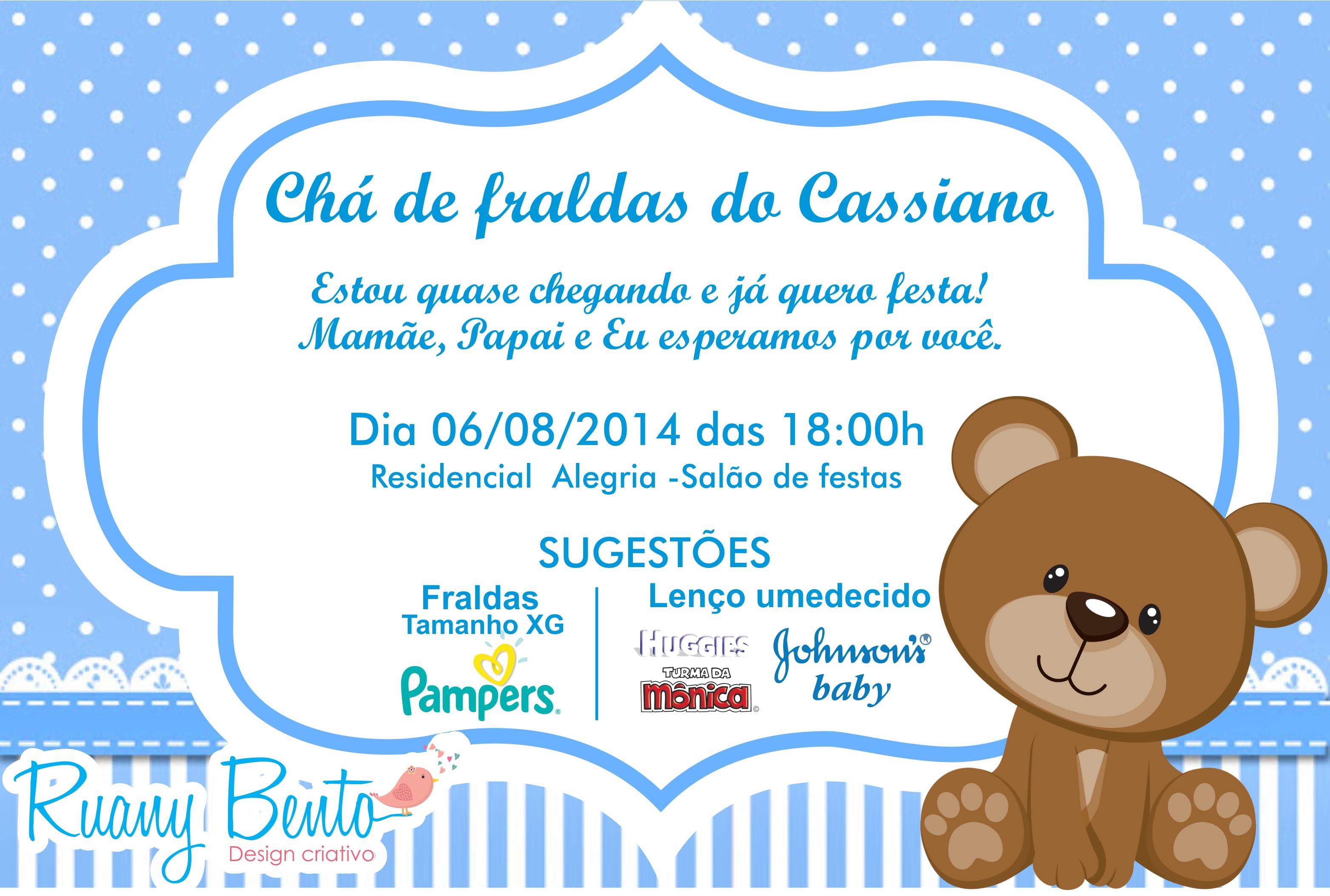 Mensagem De Convite De Cha De Fralda: Convite Chá De Fraldas - Ursinho