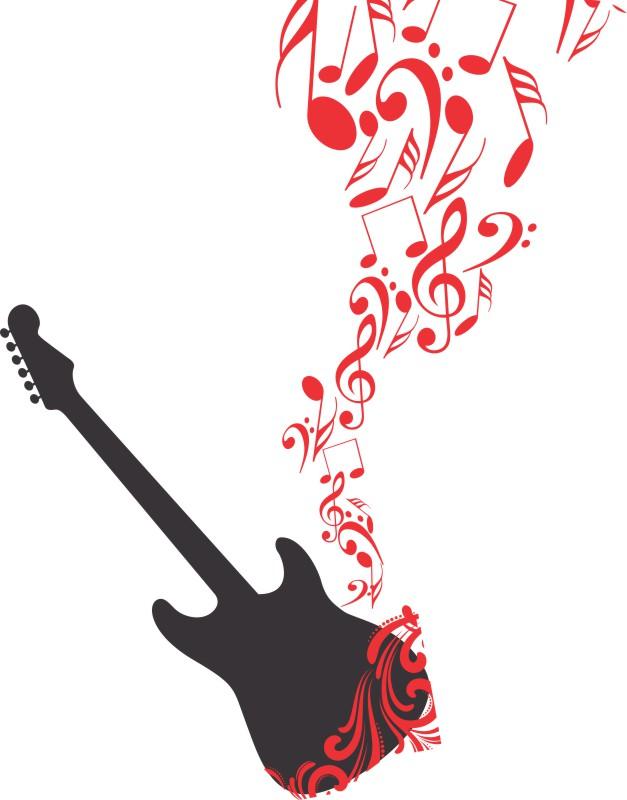 Artesanato Feltro Passo A Passo ~ Adesivo Musical Viol u00e3o Guitarra e Notas GAUDESIVOS Elo7
